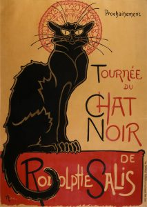 A drawn poster by Theophile Steinlen from 1896 featuring a shaggy street cat advertising Rodolphe Salis' Montmartre Chat Noir Cabaret tour.