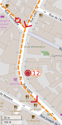 An OpenStreetMap detail of the signed route map showing the route down the lower part of Rue Lepic Paris 75018 approaching point 12 Theo and Vincent van gogh's appartment.