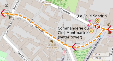 An OpenStreetMap detail of the signed route map showing the Commanderie du Clos Montmartre and the Folie Sandrin opposite. Both buildings are in Rue Norvins Paris 75018.