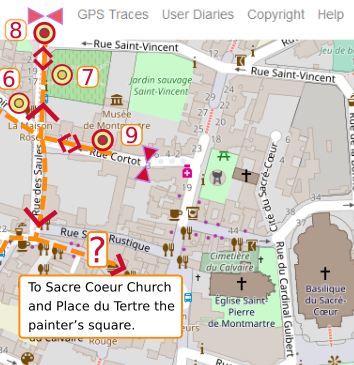 An OpenStreetMap detail of the signed route map from point 9 the Montmartre Museum Rue Cortot to the junction with Rue Norvins. A question mark signifies that the walker may choose to visit the Sacre Coeur and brave the tourist hotspots of Montmartre