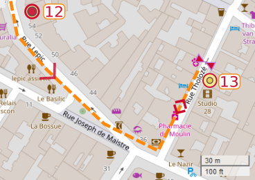 An OpenStreetMap detail of the signed route map showing the route down the lower part of Rue Lepic Paris 75018 from point 12 Theo and Vincent van gogh's apartment to cinema 28 Rue Tholoze Paris 75018.