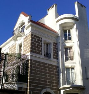 A sunny view of the French pop singer Dalida's house situated in Rue d'Orchampt Paris 75018