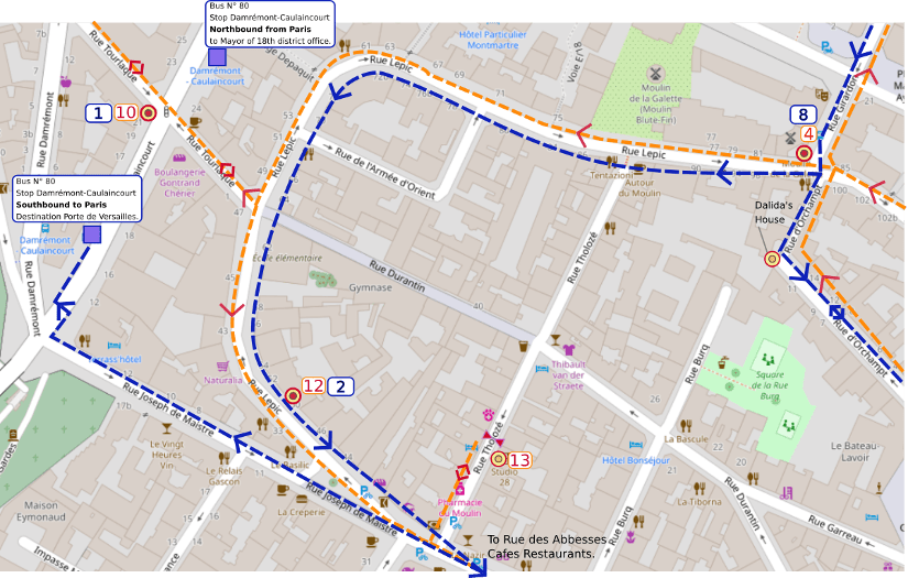 An OpenStreetMap detail of the signed wheelchair route map showing the route from point 8 the Moulin de la Galette to point 3 the metro abbesses via the long slow left hand curve of Rue Lepic Montmartre.