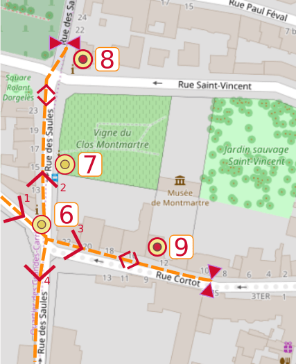 An OpenStreetMap detail of the signed route map from point 6 the Maison Rose (Pink House), point 7 the Clos Montmartre (Montmartre Vineyard), point 8 the Lapin agile, point 9 the Montmartre Museum.