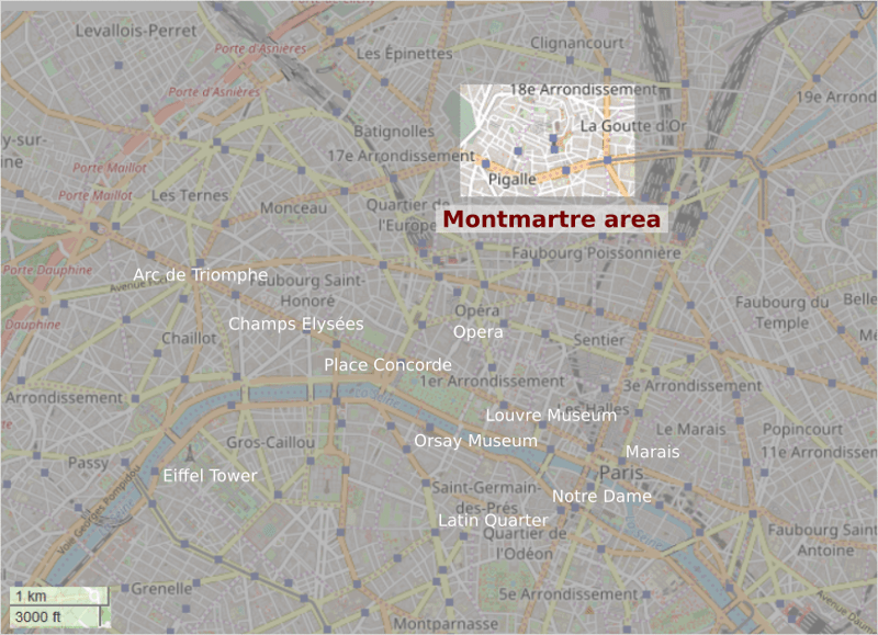 Greyed OpenStreetMap map of Paris with clear section highlighting Montmartre. Map shows position of Montmartre from major tourist draws such as Champs Elysées or Eiffel Tower