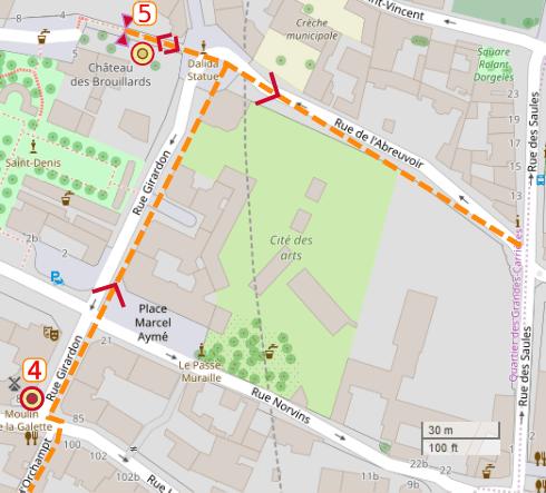 An OpenStreetMap detail of the signed route map from point 4 moulin de la galette rue Lepic Paris 75018 to point 5 chateau des brouillards Alee des brouillards Paris 75018 by Rue Girardon.