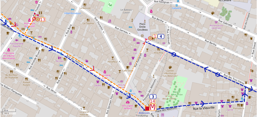 An OpenStreetMap detail of the signed route map showing the route down Rue des Abbesses Paris 75018 towards the Abbesses metro and the route via Rue de Vieuville towards the place emile Goudeau Montmartre.