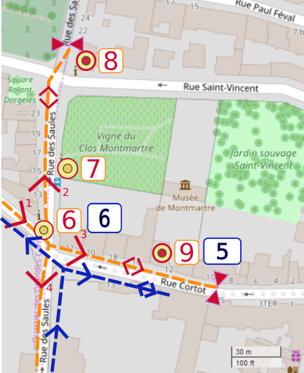 An OpenStreetMap detail of the signed wheelchair route map showing the right turn from the Rue des Saules to Rue Cortot and the Montmartre Museum.