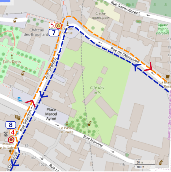 An OpenStreetMap detail of the signed wheelchair route map showing the route from Rue de l'Abreuvoir and the left turn into Rue Girardon Montmartre towards point 8 the Moulin de la Galette Montmartre.
