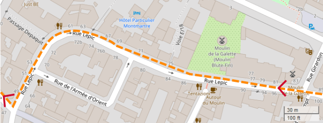 An OpenStreetMap detail of the signed route map showing the route down Rue Lepic with the Blute-Fin windmill to right. Rue Lepic Paris 75018.
