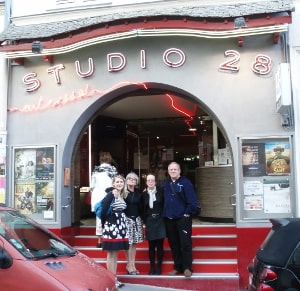 The Cinema 28 established in 1928. Five red steps lead up to a distinctive round arch. The cinema was a meeting point for the Surrealist movement.