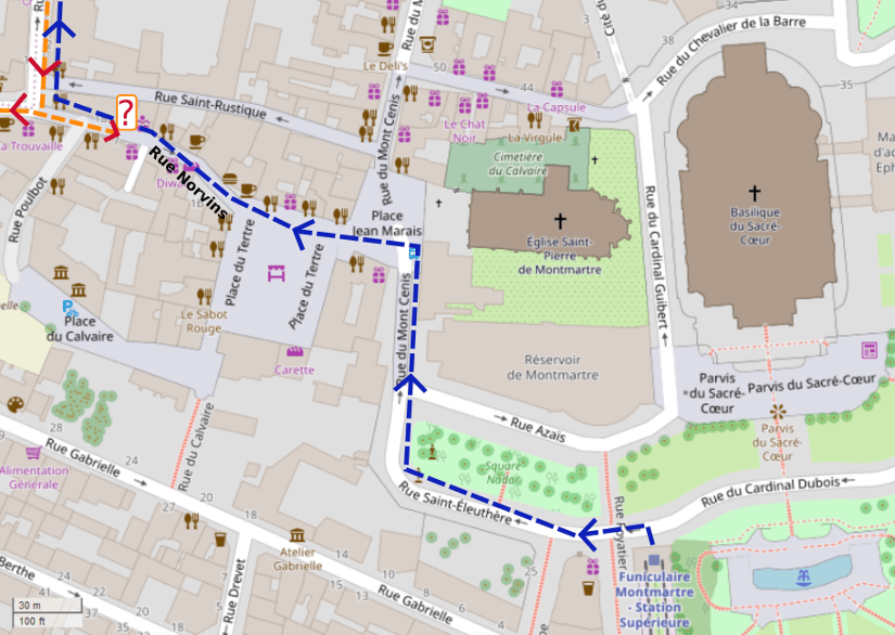 An OpenStreetMap detail of the signed wheelchair route map showing the route from the top of the Montmartre Funicular towards Rue des Saules Montmartre.