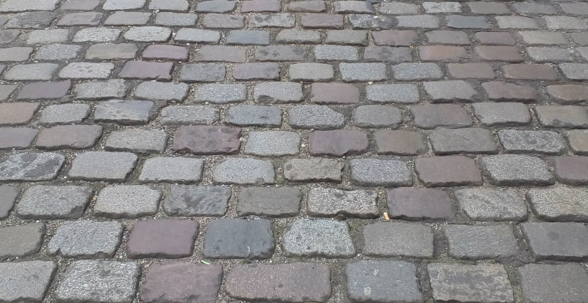 A section of a cobbled road in Montmartre