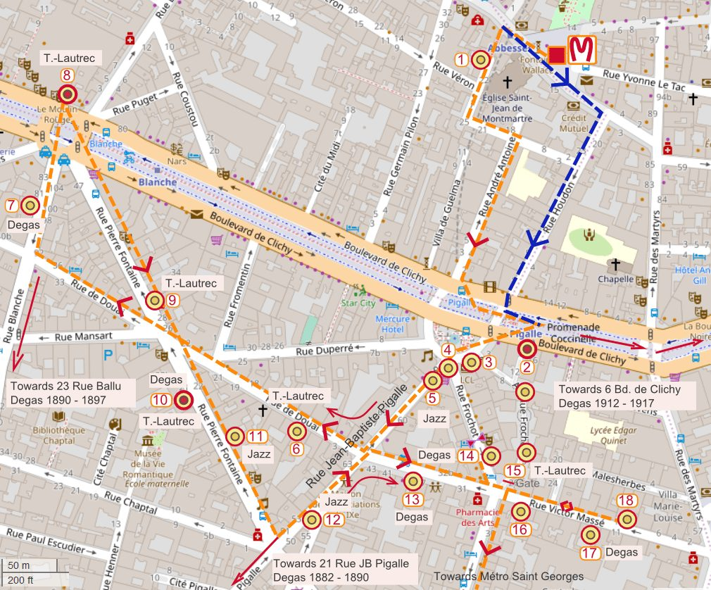 An OpenStreetMap showing the lower Montmartre Pigalle area of Paris. A walking route is shown. It leads to where Toulouse-Lautrec, Degas and Picasso lived and worked. Other sites include where 1920s jazz clubs used to be.