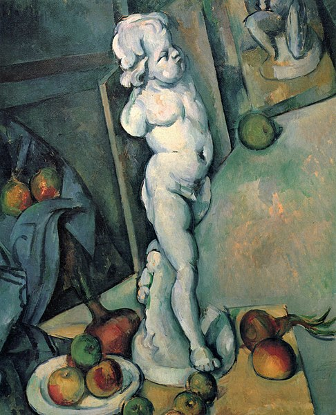 Paul Cézanne's Still Life With Plaster Cupid. A small statue of Cupid is depicted standing on a table in the artist's studio. Fruit and onions are arranged at his feet. We see other canvases on one of which we see the feet of another statue. The floor seems tilted and an out of proportion apple is shown in the middle of the composition on the floor. Cézanne is playing with perspective and suggesting the artificiality of painting.