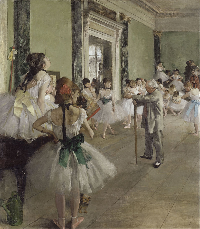 A group of ballerinas in tutus and ribbons are strewn around an elderly dance master with a stick. We see the floorboards and a window in the background. Whilst some ballerinas are practising others appear distracted as they scratch or adjust their costumes.