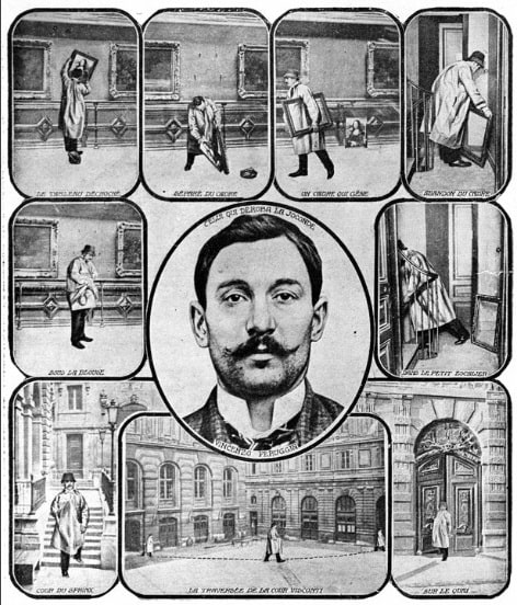 A contemporary artist's impression postcard showing how Vincenzo Peruggia stole the Mona Lisa from the Louvre in 1911. The series of drawings shows Vincenzo taking the Mona Lisa of its hanging, then hiding it under an overcoat and then walking out of the Louvre. In the centre is a portrait drawing of Vincenzo Peruggia.