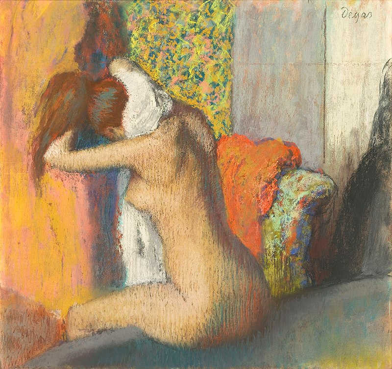 A naked bather is sitting on the edge of her bath and rubbing the back of her neck with a white towel. She has a full well formed physique and long auburn hair. Behind her we see a dressing screen, curtains and an upholstered chair. The painting is executed in pastel.
