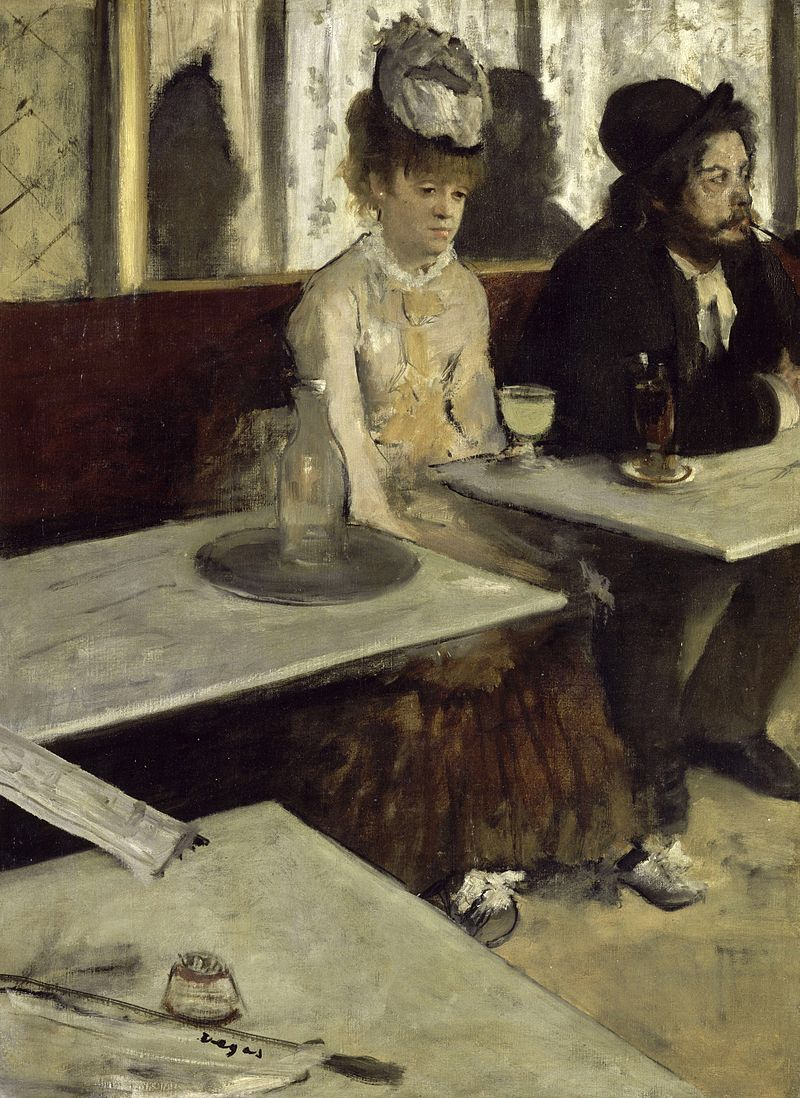 Degas: In A Café. A couple painted by Edgar Degas seen in The Nouvelle Athènes (New Athens) café on Place Pigalle Montmartre. The woman has a large glass of absinthe on front of her and stares into space the man puffs on his pipe his attention taken by something out of the frame. Both appear absent, divorced from one and another and lost in thought. The tables hover and their shadows loom behind them reflected in the wall mirrors of the café.