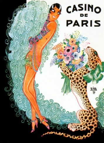 A design representing Josephine Baker wit her trade mark hairstyle wearing beads and bangles and otherwise represented as nude receiving a bouquet of Flowers from a cheetah. The cheetah is represented on its hind legs, wears an extravagant ribbon and holds the flowers between its front paws. It is smiling.