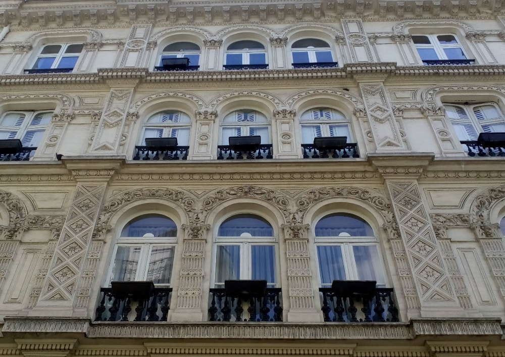 An elaborately decorative facade in the Nouvelle Athènes area of Montmartre Paris. The area was a speculative property development from the post-Napoleonic era of the 1820s.