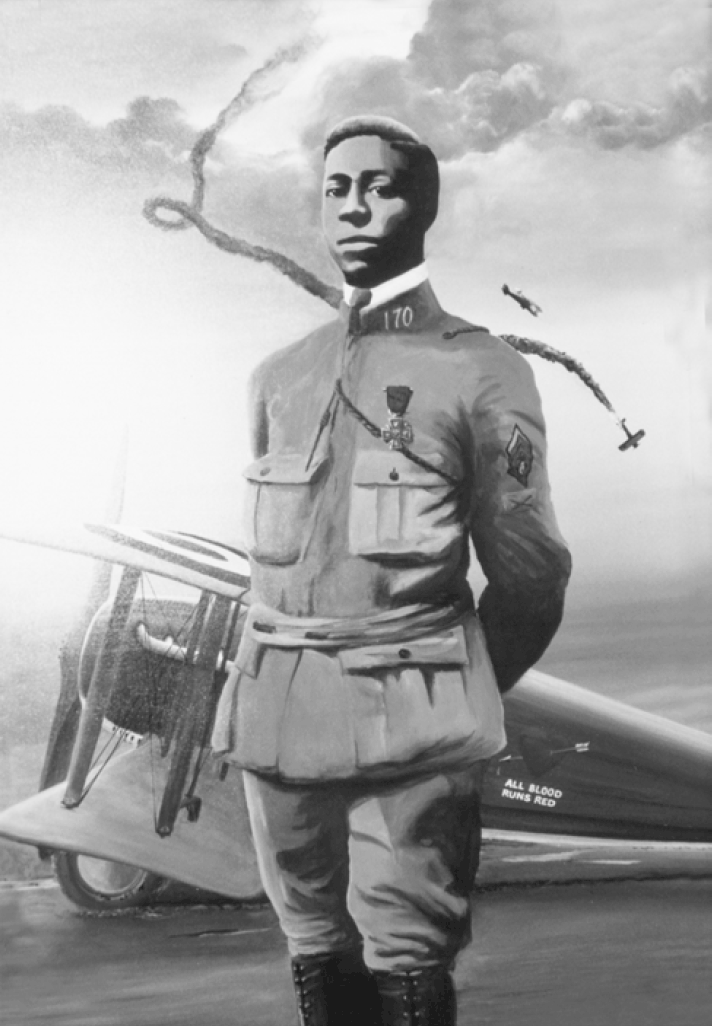 A painting of Eugene Bullard, the first black combat pilot in France. He is shown posing in front of a First World War Combat aircraft. In the background we see two aircraft engaged in aerial combat one of which is plunging to the earth, leaving a trail of black smoke in its wake. Bullard is proudly wearing his Croix de Guerre medal.