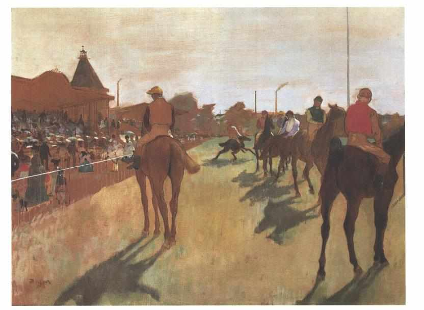 Horses and jockeys line up for a race. It is sunny, the spectators carry parasols, in the distance we see a chimney and smoke.