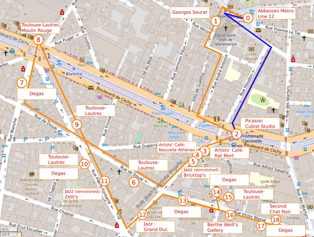 Map of lower Montmartre Pigalle for the self-guided walk which guides you to artists' studios, paintings and canteens. The walk is around the lower Montmartre - Pigalle area and includes sites associated with Degas, Toulouse-Lautrec, Picasso and the Montmartre jazz scene of the 1920s.