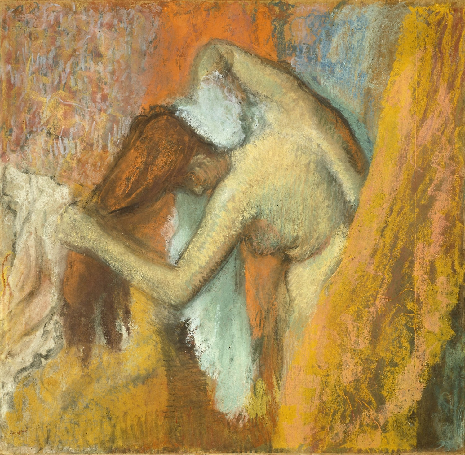 A woman dries herself vigorously. Her towel rubs the back of her neck as she holds her auburn hair free. A curtain, a chair and some wallpaper are seen in the background. Colours express and suggest form rather than accurately portraying it.