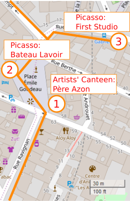 An OpenStreetMap detail of the signed route map from Rue Ravignan to Place Emile Goudeau to Rue Gabrielle in Montmartre. The map shows three points of interest; point 1 Pere Azon/Relais de la Butte, point 2 the Bateau Lavoir artists studios and point 3 Picasso's first studio in Paris in 1900.
