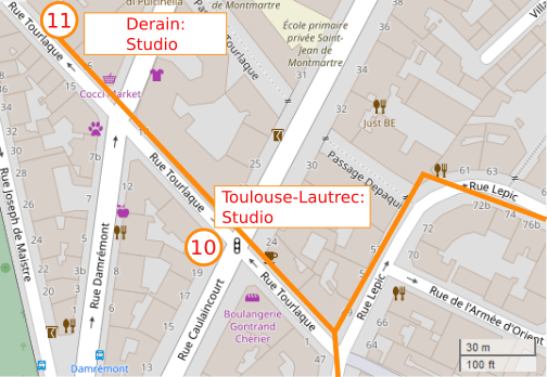 An OpenStreetMap detail of the signed route map showing the route down Rue Lepic with the sharp right hand turn into Rue Tourlaque. Toulouse Lautrec's studio marked as point 10 on the map is situated at 21 Rue Caulaincourt Paris 75018.