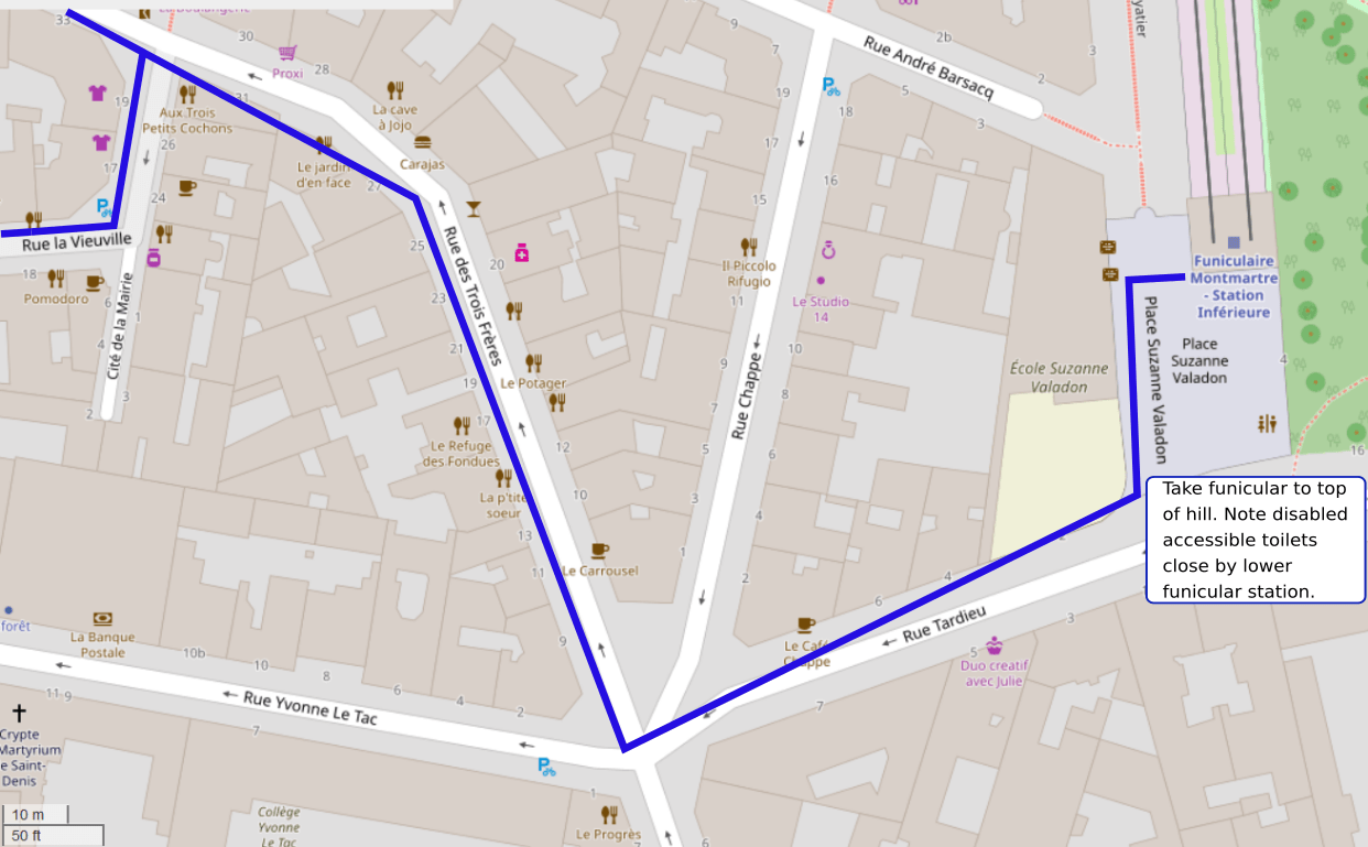 An OpenStreetMap detail of the signed route map showing the route down Rue des Trois Frères and Rue Tardieu Montmartre leading towards the Montmartre funicular railway.