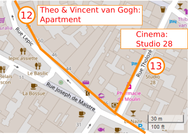 An OpenStreetMap detail of the signed route map showing the route down the lower part of Rue Lepic Paris 75018 from point 12 Theo and Vincent van gogh's apartment to cinema 28 Rue Tholoze Paris 75018