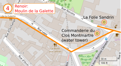 An OpenStreetMap detail of the signed route map showing the Commanderie du Clos Montmartre and the Folie Sandrin opposite. Both buildings are in Rue Norvins Paris 75018