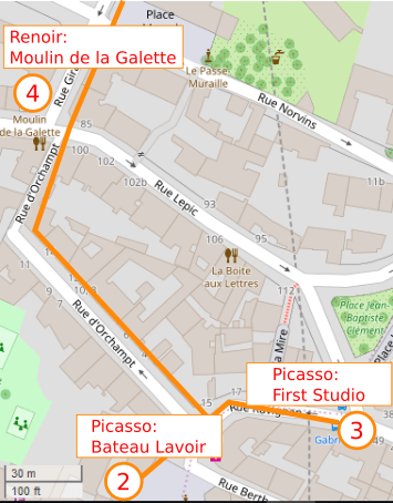 An OpenStreetMap detail of the signed route map from point 3 Rue Gabrielle to point 4 the Moulin de la Galette turning right from Rue Ravignan into Rue d'Orchampt and following this street to the Moulin de la Galette.