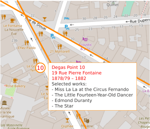 An OpenStreetMap detail showing the route to point 10, 19 Rue Pierre Fontaine Paris 75009. Edgar Degas lived and worked here from 1878/79 – 1882.