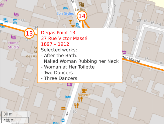 An OpenStreetMap detail showing the route to point 13, 37 Rue Victor Massé Paris 75009. Edgar Degas lived and worked here from 1897 – 1912.