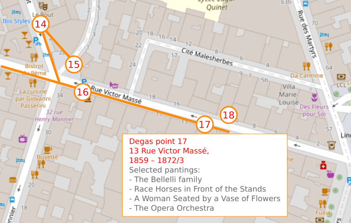 An OpenStreetMap detail showing the route to point 17, 13 Rue Victor Masse, Edgar Degas lived and worked here from 1859 – 1872/73.